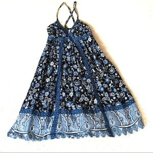 Mossimo Strap Sun Dress Blue Patchwork Floral-M
